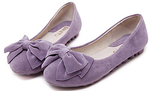 Aisun Damen Süß Schleifen Rund Zehe Low-Cut Flach Ohne Verschluss Ballerinas Violett