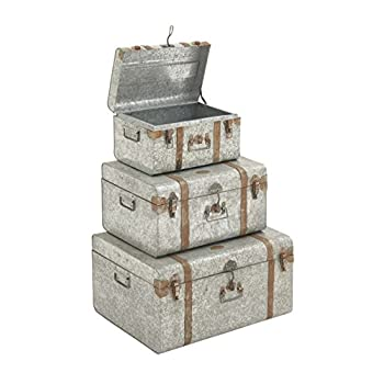 "Deco 79 38155 Galvan Metal Trunks (Set of 3), 24""/20""/16"""