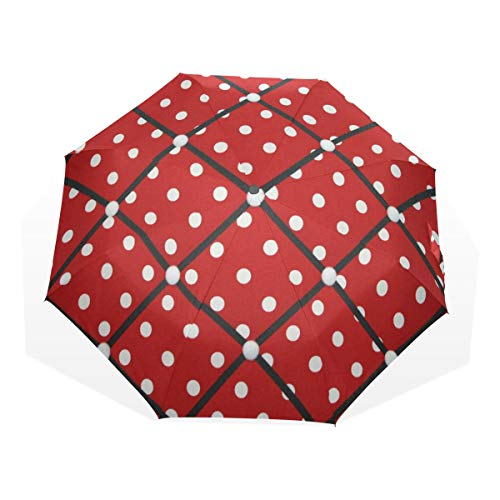 HangWang Umbrella Red White Polka Dot Travel Golf Sun Rain Windproof Umbrellas with UV Protection for Kids Girls Boys ()