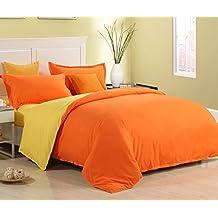 Zhiyuan 3pcs Solid Color Brushed Microfiber Flat Sheet Duvet Cover Pillowcase,Orange & Yellow,Twin