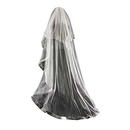 (Passat White Waltz/Floor Two Tiers 8cm beautiful horse hair/crin edge bridal veil)