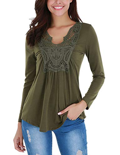 FISOUL Women V Neck Ruched Front Shirts Crocheted Lace Neckline Tops Army Green S