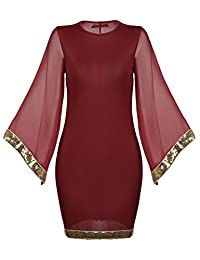 Meaneor Plus Size Flare Sleeve Sequined Trim Cocktail Bodycon Dress Prom Dress