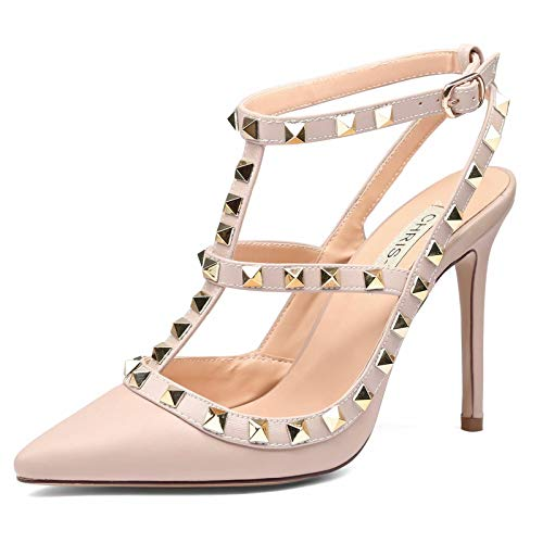 Chris-T Women Pointed Toe Studded Strappy Slingback High Heel Leather Pumps Stilettos Heeled Sandals Nude/Nude Strap Size 9US