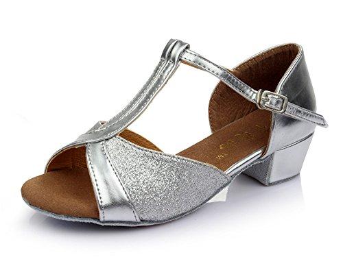 Enfants Taille Modernes Chaussures De amp; Les 30 Color Pour Tmkoo Latines Fond Doux Argent 1Uwzaq7