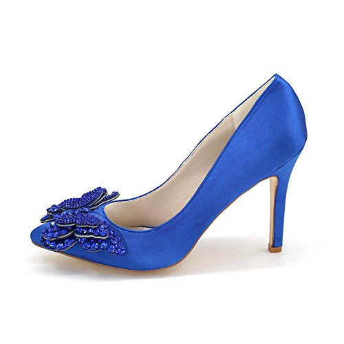 Frauen High Heels 0608-01D Pumps Satin Rhinestone Geschlossene Zehe Mittelfristige Hochzeitskleid Schuhe Brown
