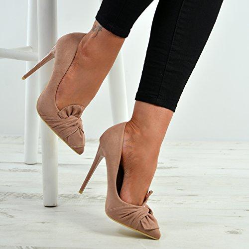 Damen Damen UK 3 Schuhe High 8 Stöckel Pumps Größe Pink Neue Absatz Bow d5Wvda0