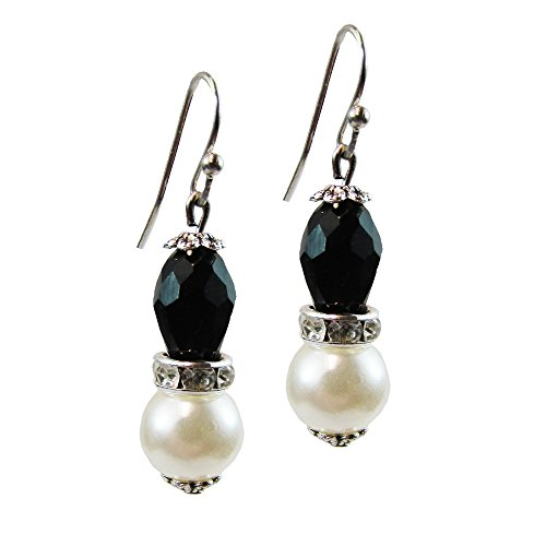 - Vintage Black and White Simulated Pearl Onyx Faceted Bead Drop Dangle Earrings Fashion Jewelry