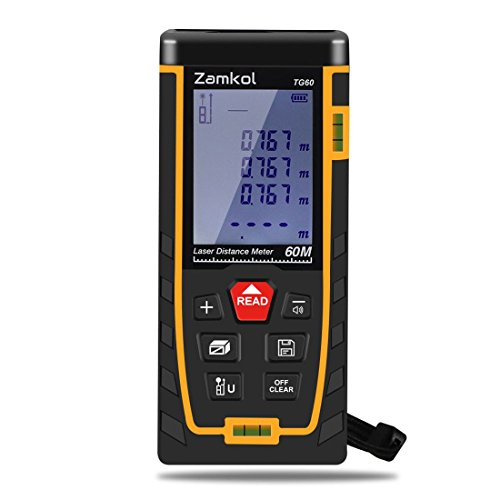 Laser Distance Measure,Zamkol 196ft/60m Laser Distance Meter with LCD Backlight Screen,Handy High precision Mute Laser Measure Device, Measurement for Distance,Area and Volume,Pythagorean Modes(A)