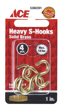 "1"" Solid Brass Heavy ""S"" Hooks ACE Hooks and eyes 5360391 Polished Brass"