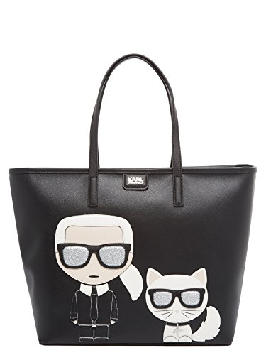 Shopper Karl in Shopper saffiano Lagerfeld Ikonik Karl pelle nera RdB1pqdr