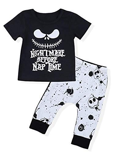 Toddler Baby Boy Clothes 2Pcs Outfit Set Nightmare Printing Short Sleeve and Skull Pants Clothing Set(3-4T,120)]()