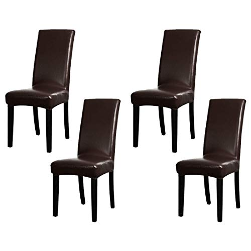 Hooshing Elasticity Dining Chair Seat Covers with PU Leather Waterproof and Oilproof Dining Chair Protctor Cover (4 Pack, Brown) (Faux Leather Durability)