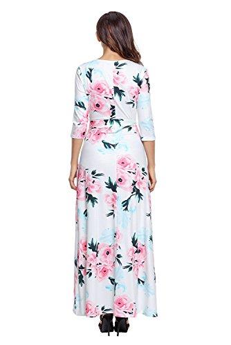 Maxi Long Neck Sleeve V with Maketina Flower 3 Belt Print Sash Floral White Wrapped Floral Boho Fall 4 Dress XYX7w0Pq