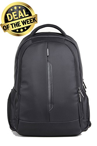 "Kingsons Water Resistant Laptop Backpack – Slim & Light Executive Series Backpack w/ Laptop Padded Sleeve (15.6"") – Multi-Compartment Organizer & Hidden Back Pocket for Travel Essentials (Black) (Saddlebag Tandem)"