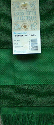 Green Counted Cross Stitch Fingertip Towel