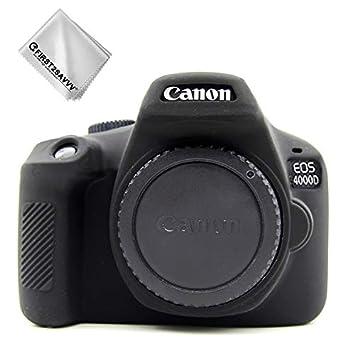 First2savvv Negro Cuerpo Completo Caucho de TPU Funda Estuche Silicona para cámara para Canon EOS 4000D Rebel T100 3000D XJPT-4000D-GJ-S01G11