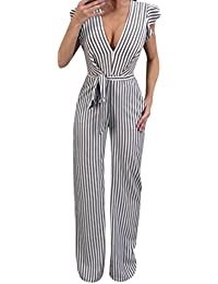 25213c2e379 Women Sleeveless Striped Sexy Blackless Halter Ruffle Jumpsuit with Wide  Leg Trousers by-NEWONESUN