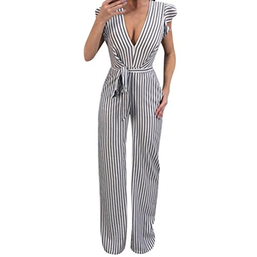 Women Sleeveless Striped Sexy Blackless Halter Ruffle Jumpsuit with Wide Leg Trousers by-NEWONESUN]()