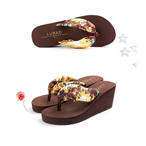 Angel Brown Color Forme Plate Size beauty 38 Brown Wedge Bohême Wedge EU Sandales Femmes Flip Tongs Floral love Couleurs 3 Tongs Pantoufles Flops Plage Femmes r4w1HrqR
