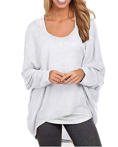 ZANZEA Women's Long Batwing Sleeve Loose Oversize Pullover Sweater Top Blouse White US 16/Tag Size 3XL ()