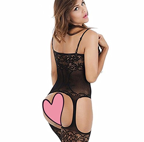 Woopower Lingerie Bodystockings,Stretch Fishnet Sexy Crotchless Bodysuit Black Onesize