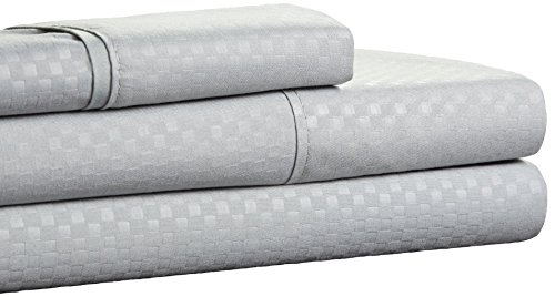 Brushed Microfiber Sheets Set- 3 Piece Hypoallergenic Bed Linens with Deep Pocket Fitted Sheet and Embossed Design by Lavish Home (Platinum, Twin)
