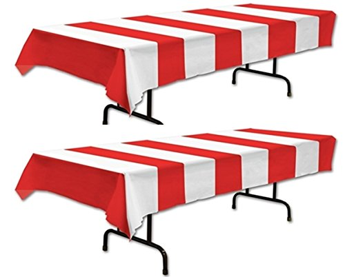 Red & White Stripe Carnival Tablecover (SET of 2) by happy deals (Striped Cover Table Red)