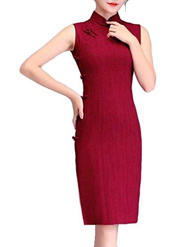 GloryA Women's Fashion Stand Collar Sleeveless Cheongsam Chinese Style Midi Dress Wine Red M ()