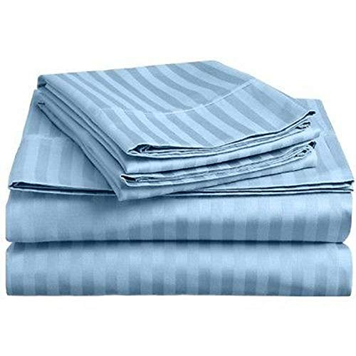 MD Home Bed Sheet Set 4 Piece - 400 Thread Cound 100% Cotton Breathable Soft & Silky Sateen Weave Fits Mattress Upto 21'' Deep Pocket - King, Light Blue Stripe