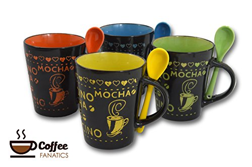 Coffee Mug-Cup Spoon Set of 4 Cafe Style 10 oz. Assorted Multi Color Artisan Made Unique Cups Mugs