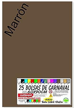 Bolsa Plastico Disfraz Carnaval Paquete 25 Bolsas 60x90cm. (Marron)