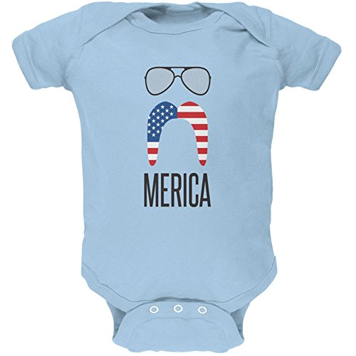 4th of July Merica Sunglasses and Mustache Light Blue Soft Baby One Piece - 3-6 - Old 4 Month Sunglasses