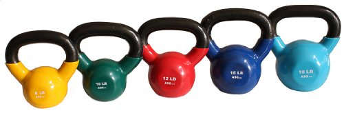 Ader Vinyl Kettlebell Set- 8, 10, 12, 15, 18 by Ader Sporting Goods