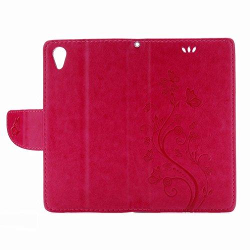 Custodia Sony Xperia X Performance Cover Case, Ougger Fiore Farfalla Portafoglio PU Pelle Magnetico Stand Morbido Silicone Flip Bumper Protettivo Gomma Shell Borsa Custodie con Slot per Schede (Rose R