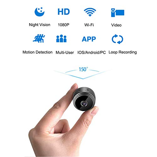 Spy Camera Mini Hidden Cam 1080P Wifi with Wide Angle Lens Night Vision and Motion Detection