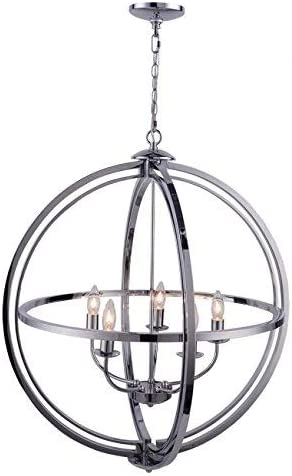 Orbits Pendant Ceiling Light Fixture Modern Sphere Orb Globe Chandelier, Chrome Finish 5 Lights 25.5 Chrome