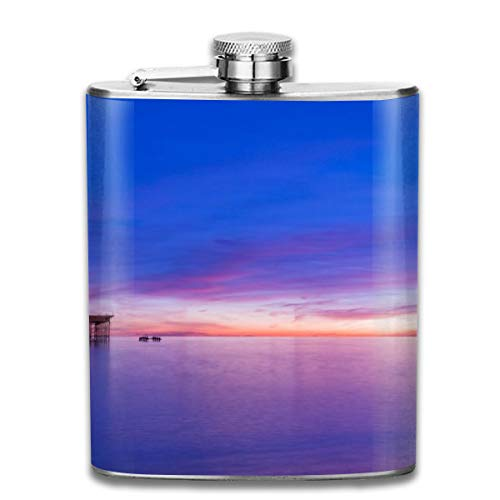 (Oximing Customized Brighton Pier Sunset Wallpaper Stainless Steel Wine Bottle, Personalized Flask Gift)