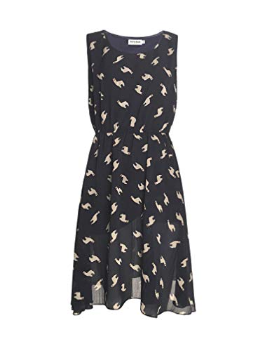 LaVieLente Sleeveless Midi Dress in Bird/Alpaca Print w/Front Pockets and Stretchable Waist Design (Navy, Medium/Large)