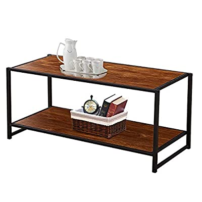 VECELO Cocktail Table,Coffee Table with Storage Bottom Shelf for Living Room and Office - INDUSTRIAL CLASSIC DESIGN:  The high density panel with rich brown wood grain finish is easy to clean. The sturdy,  black square steel tubing to ensure maximum stability.  To create an attractive look and feel,  well match all style furniture.  You can use this table in the living room,  lounge,  play room and more! PRACTICAL STORAGE SHELF: This 2-Tier coffee table with additional bottom shelf Provides Plenty of Space to Store Remote Controls,  Snacks,  Trays,  Books,  Magazines,  save space and makes items within reach. PRODUCT SIZE:  40''W x 17''D x 18''H (101. 5x43x45. 5cm);  Product Weight:  26 lbs (11. 8kg) can be moved around by one person. It makes more space for your lamp,  magazine,  vase and etc. - living-room-furniture, living-room, coffee-tables - 41YszrHiRkL. SS400  -