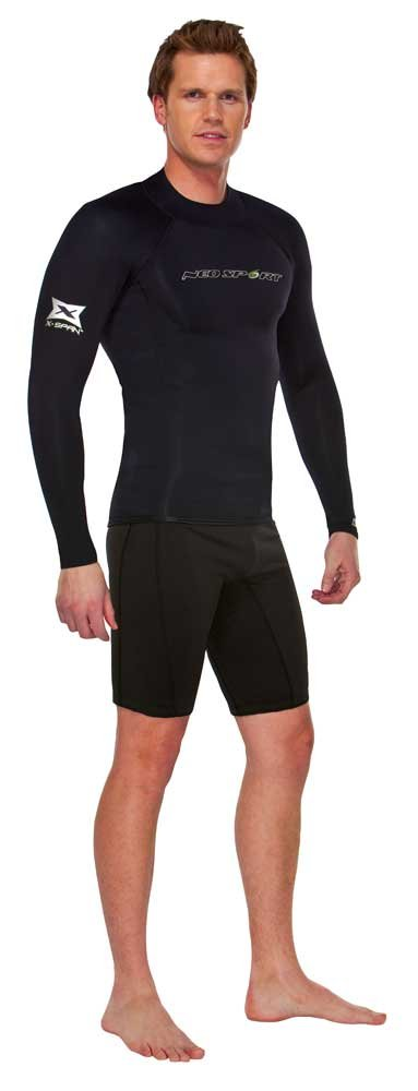NeoSport Wetsuits Men's XSPAN Long Sleeve Shirt, Black, Medium - Diving, Snorkeling & Wakeboarding by Neo-Sport
