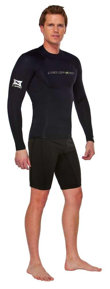 NeoSport Wetsuits Men's XSPAN Long Sleeve Shirt, Black, Medium - Diving, Snorkeling & Wakeboarding