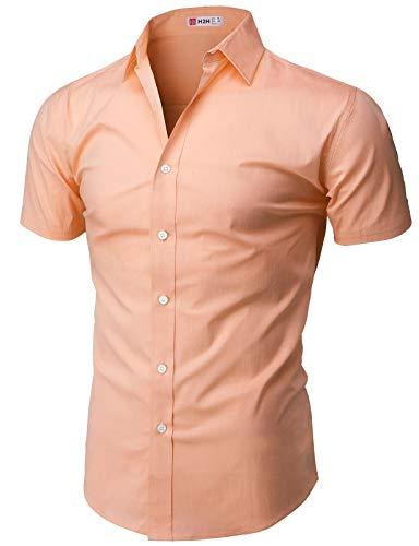 H2H Mens Wear Well-Fitted Slim Fit Button Down Short Sleeve Shirt for Men LIGHTORANGE US 2XL/Asia 3XL ()