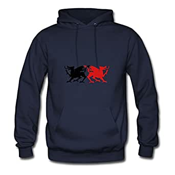 Women Rampant Dragons Licking Emblem Solid Wicked! Personalized Vogue Casual Navy Sweatshirtsby Ebolam