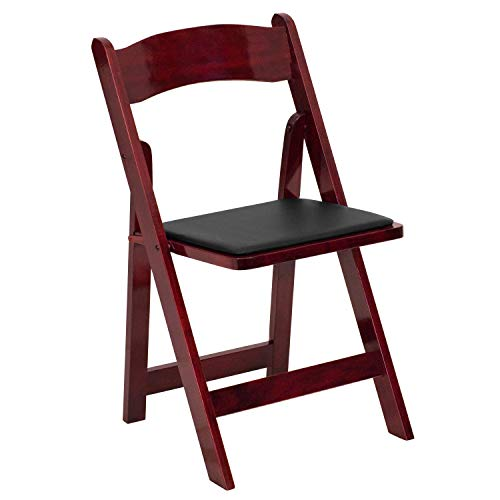 Flash Furniture HERCULES Series Mahogany Wood Folding Chair with Vinyl Padded -