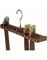 Binnan 10 Slots Tie Belt Saver Belt Hanger Holder for Closet Organizer Storage, Rotatable Space Saving Organizer(Brown)