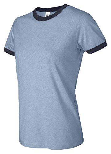 Bella para mujer Heather Ringer T-Shirt HTHR BLUE/NAVY