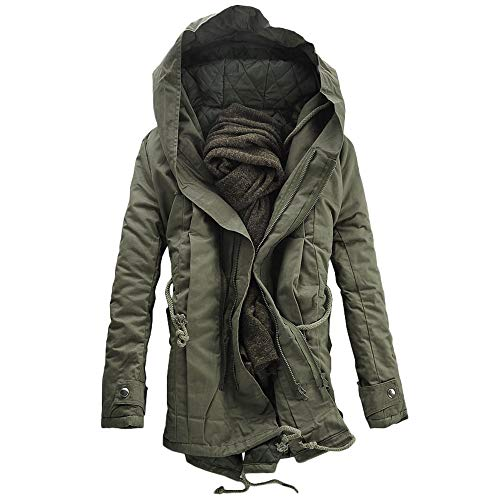 (DaySeventh Men Winter Warm Hooded Zip Thick Solid Fleece Coat Outwear Wind Jacket)
