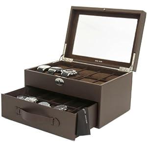 20 Watch Box Storage Case Black Leather With Glass Window Lock