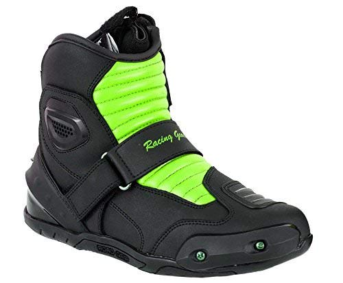 Green /& Black EU 42 UK 8 PROFIRST Nextek Genuine Leather Motorbike Armoured Boots Motorcycle Short Ankle Protection Boot Shoes Anti Slip Racing Sports Reflector